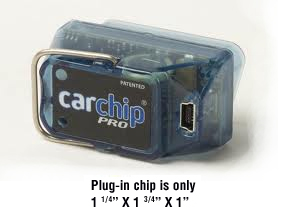 Car Chip Pro product that plugs into vehicle's OBDII port